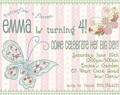 Butterfly Personalized Party Invitations - Birthday, Garden, Bridal Shower, Baby Shower