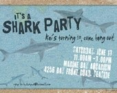 Shark Party Personalized Party Invitations