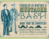 Mustache Bash Party Invitations - Birthday, Wedding Shower, Any Age, Any Time