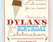 Ice Cream Party Invitation - Ice Cream Truck or Ice Cream Cone