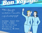Retro Flight Attendant Party Invitation- Bon Voyage, Birthday, Wedding Shower, Save the Date or Any Occasion