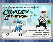 Cops n Robbers Party Invitation - Saturday Morning Cartoon Style Invitation
