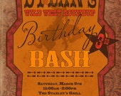 Western Birthday or Barbecue Bash Invitation - Texas Style:  Birthday, Couples Shower, Anniversary, Any Occasion