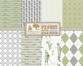 Vintage Golf Digital Scrapbook Paper Pack