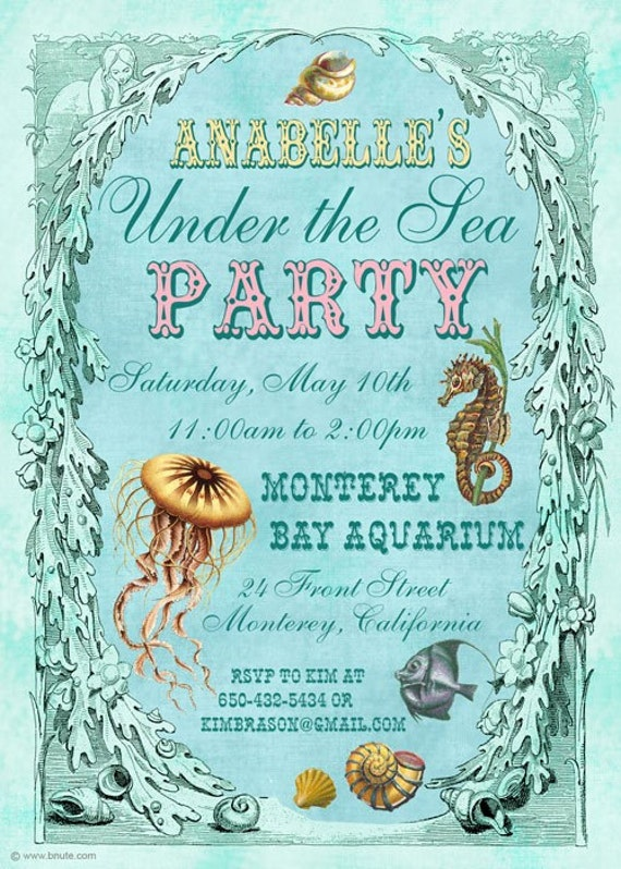 Items Similar To Under The Sea Party Invitation Birthday
