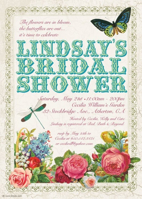 Items similar to Victorian Garden Party Invitation Birthday – Garden Party Baby Shower Invitations