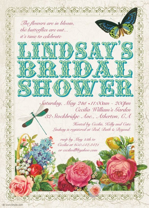 Items similar to Victorian Garden Party Invitation Birthday