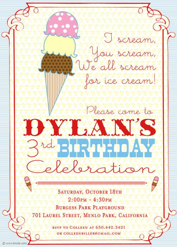Items similar to Ice Cream Party Invitation Ice Cream Truck or – Ice Cream Party Invites