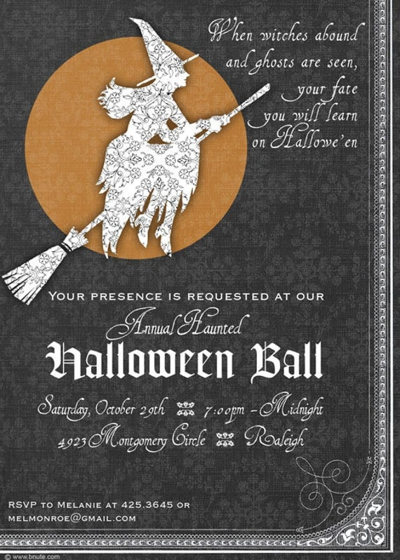items similar to halloween invitation  elegant witches or