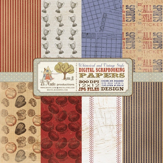 Vintage Sports Digital Scrapbook Paper Pack