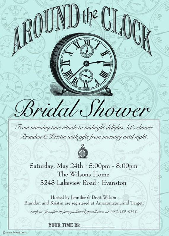 Items similar to Around the Clock Shower Invitation Bridal or – Around the Clock Wedding Shower Invitations