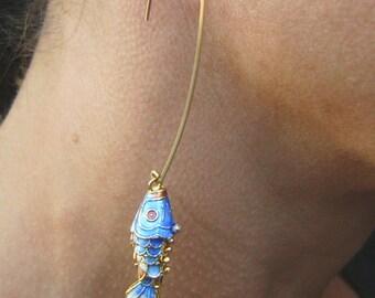 cloisonne fish hook earrings