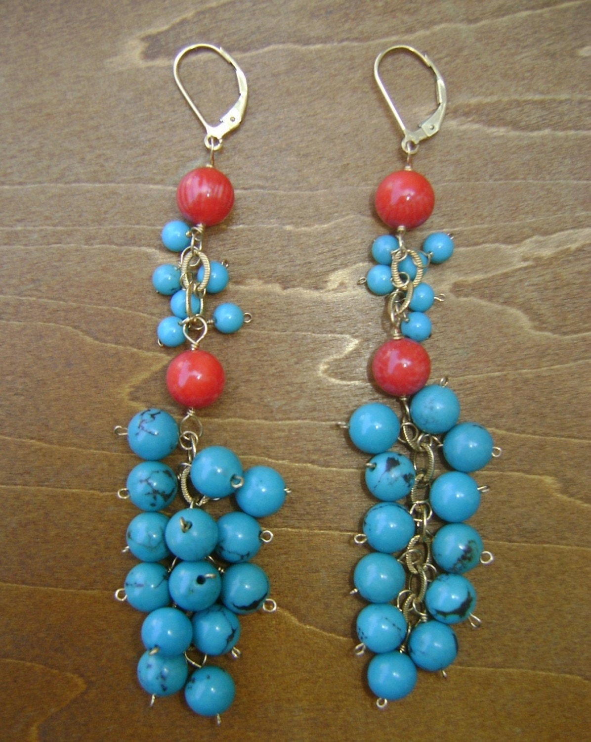 turquoise and coral dangle earrings
