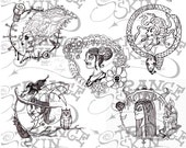 50% OFF SALE: Beautiful Monsters Cameo Collection - Digital Stamps
