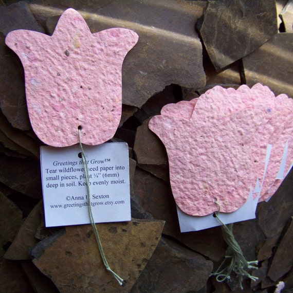 RESERVED for herbanlifestyle 10 Plantable Tulip Favors Tags w\/ Organic Wildflower Seed Paper