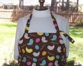 SALE Plus Size Adjustable Apron w/ 2 Pockets - Easter Chicks - Yellow Pink Light Blue Polka Dot Eggs