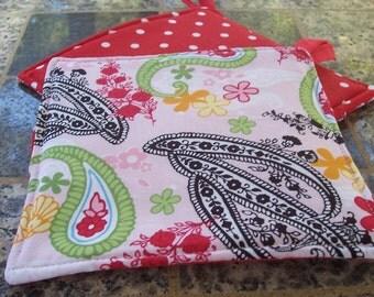 Fabric Kitchen Potholders, Cheery Pink Paisley Potholders, Kitchen Potholders, Shower Gift