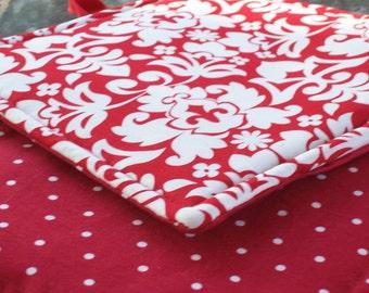 Kitchen Fabric Potholders - Set of 2 - Lipstick Red Damask