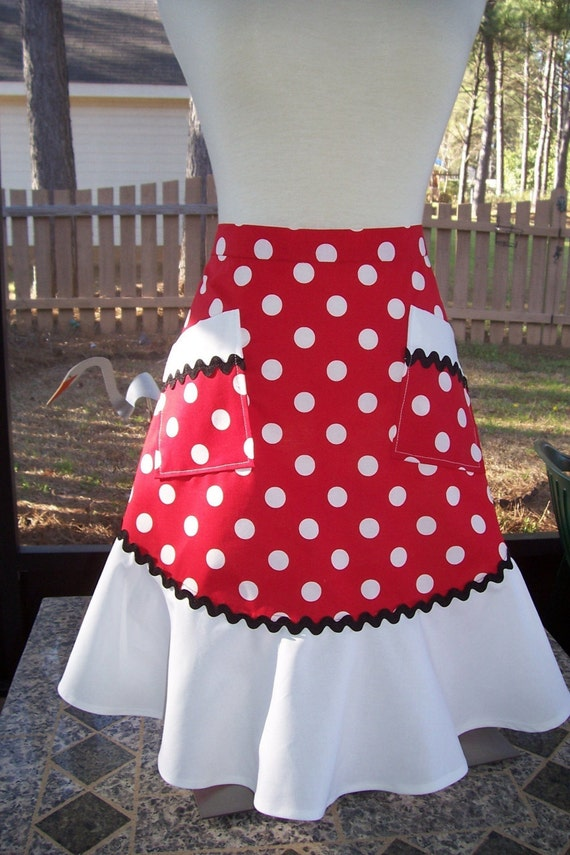 Vintage Inspired Half Apron - Polka Dot Magic