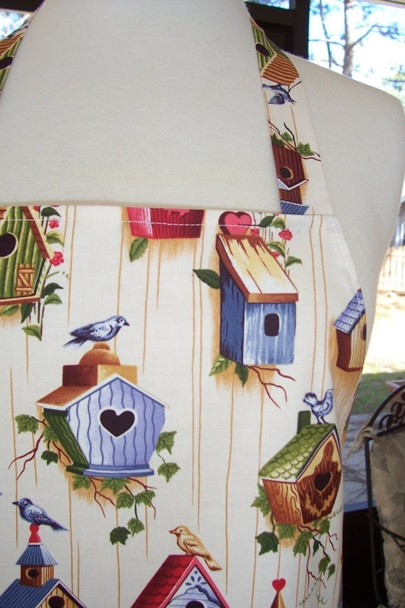Womens Full Apron - Birdhouses