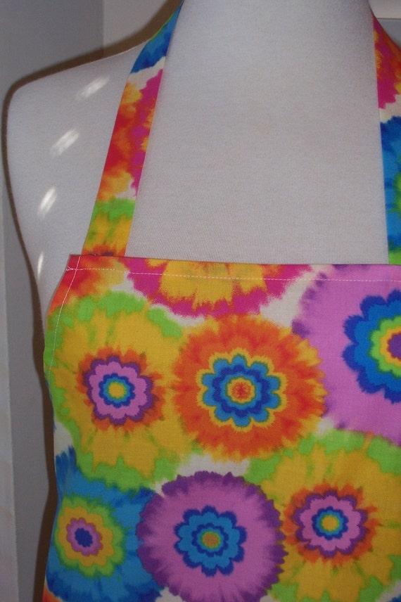 Flower Power Tye Dye Bbq Style Womens Full Apron