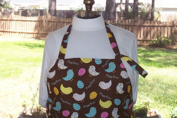 SALE Plus Size Adjustable Apron w/ 2 Pockets - Easter Chicks - Yellow Pink Light Blue Polka Dot Eggs