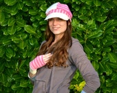 Pink Stripes Newsboy Cap and Matching Fingerless Glove Set Upcycled from Recycled Wool Sweaters  OOAK