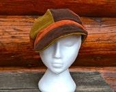 Unisex Patchwork Corduroy Newsboy Cap Hat Upcycled Eco Friendly Lightweight Summer Hippie Deadhead Hat Brown, Orange & Tan OOAK