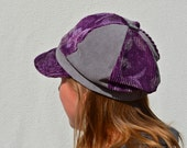 Flower Power Newsboy Cap Purple and Grey Upcycled Corduroy Ready to Ship OOAK Eco Friendly Funky Boho Chic Reuse