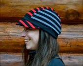 Recycled Cycling Cap Newsboy Hat Unisex Red, Black and Grey Stripes Upcycled Eco Friendly Lightweight Summer Jersey Knit XL OOAK
