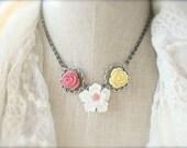 Spring Flower Garden Necklace.  Antique Silver.