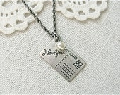 Love Letter.  Antique silver and pearl postcard necklace.