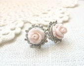 Shabby chic pink and ivory white post earrings.  Vintage style jewelry by Sweet And Simple.  Valentines Day Gift.