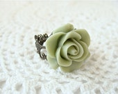 Sage green rose ring.  Antique brass filigree adjustable ring.