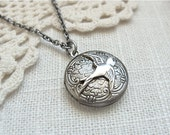 Antique silver locket necklace.  Floral etched locket with a small sparrow.  Photo keepsake jewelry.