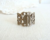 Antique Brass Miraculous Medal Ring.  Limited quantity. Next ship date Tuesday Sept 27