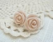 Pale pink rose post earrings.  Flower studs.