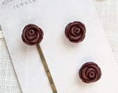 Bobby Pin And Post Earring Set.  .  Maroon flowers.  Jewelry By Sweet And Simple.