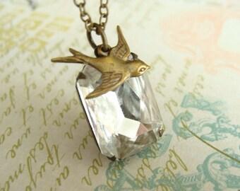 Vintage Glass Rhinestone Necklace.  Antique Brass Sparrow