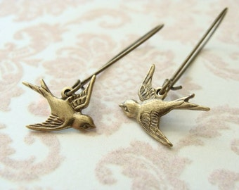 Antique Brass Sparrow Earrings. Long