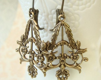 Antique Brass Floral Filigree Earrings
