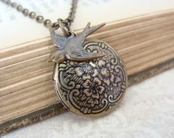 Antique Brass Locket Necklace
