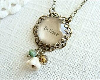 BELIEVE.  Antique Brass Inspirational Beaded Necklace.
