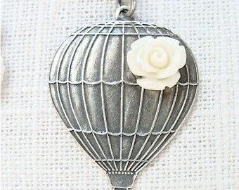 Antique silver hot air balloon whimsical necklace // Cream rose flower.