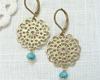 Gold filigree earrings with tiny turquoise glass beads.