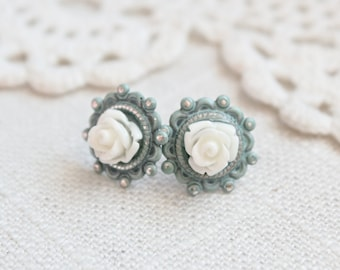Shabby chic blue and cream rose post earrings.