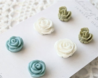 Flower cabochon post earring set.  Green white and turquoise studs.  Jewelry by Sweet and Simple.