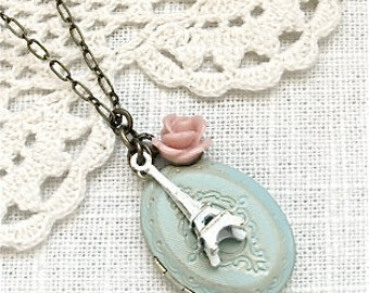 Eiffel Tower Charm Necklace.  Paris inspired jewelry by Sweet And Simple.  Shabby chic vintage style.