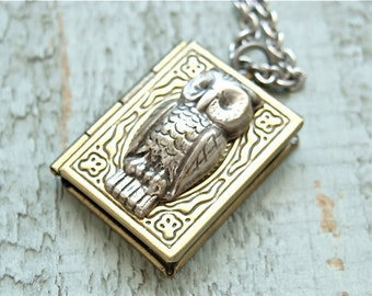 Whimsical vintage style locket necklace.  Antique brass locket with a silver owl.  Jewelry by Sweet And Simple.