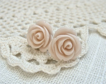 Pale pink rose post earrings.  Flower studs.  Bridesmaids.  Weddings.  Shabby Chic Style.